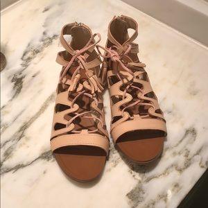 """Zara size 38 (7 1/2) flat leather """"Roman"""" sandal"""